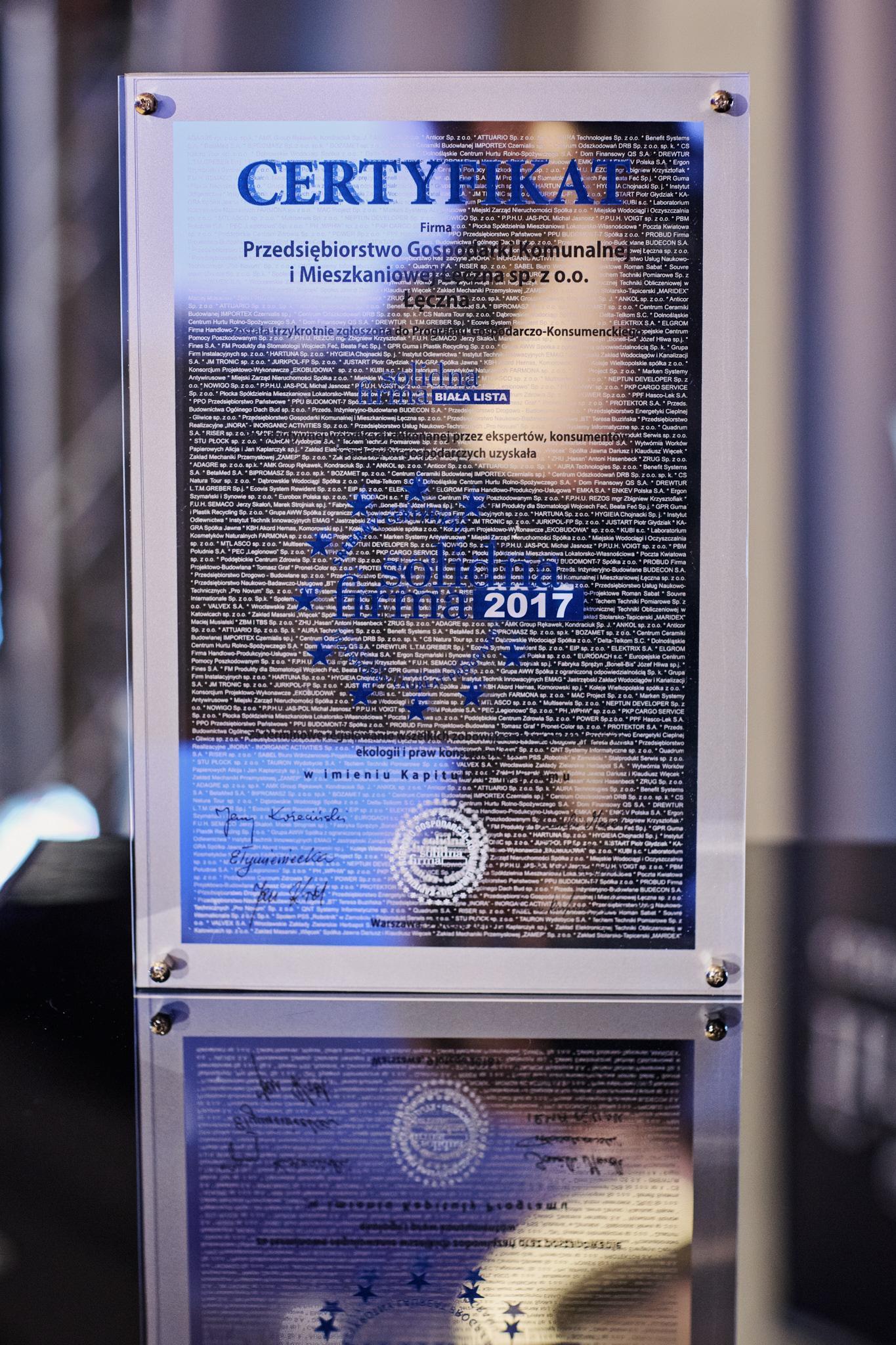srebrny certyfikat