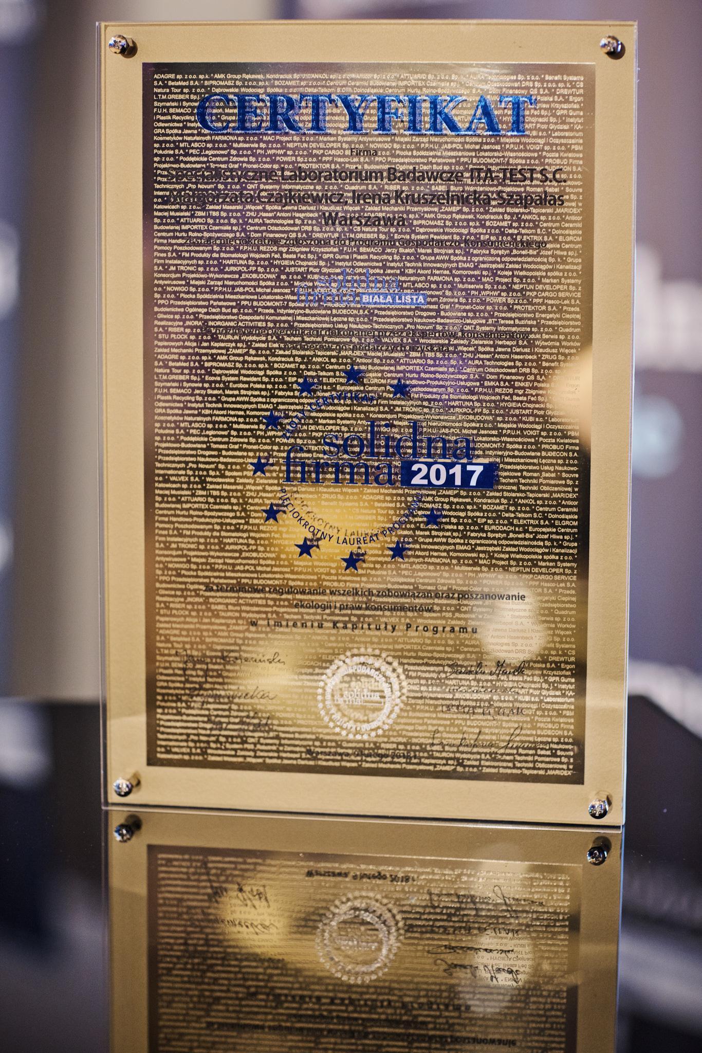 złoty certyfikat